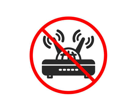 No or Stop. Wifi router icon. Computer component sign. Internet symbol. Prohibited ban stop symbol. No wifi icon. Vector