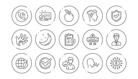 Check mark, Sharing economy and Mindfulness stress line icons. Privacy Policy, Social Responsibility. Linear icon set. Line buttons with icon. Editable stroke. Vector Illustration