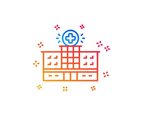 Hospital building line icon. Medical help sign. Gradient design elements. Linear hospital building icon. Random shapes. Vector Illustration