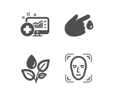 Set of Plants watering, Medical analytics and Blood donation icons. Face detection sign. Water drop, Medicine system, Injury. Detect person.  Classic design plants watering icon. Flat design. Vector