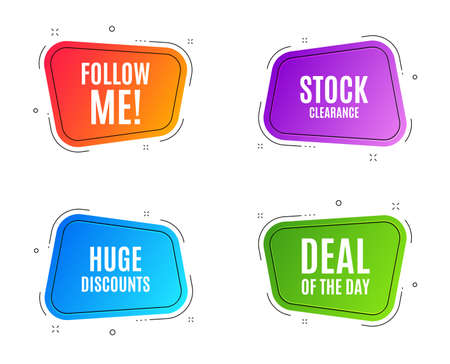 Geometric banners. Huge Discounts. Special offer price sign. Advertising Sale symbol. Follow me banner. Clearance sale. Vector Illustration