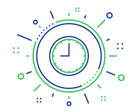 Clock line icon. Time sign. Office Watch or Timer symbol. Quality design elements. Technology time button. Editable stroke. Vector