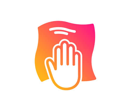 Cleaning cloth icon. Wipe with a rag symbol. Housekeeping equipment sign. Classic flat style. Gradient washing cloth icon. Vector