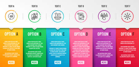Report, Correct checkbox and Speakers icons simple set. Report document, Update data and Survey check signs. Work analysis, Answer. Education set. Infographic template. 6 steps timeline. Vector