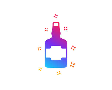 Whiskey bottle icon. Scotch alcohol sign. Dynamic shapes. Gradient design whiskey bottle icon. Classic style. Vector
