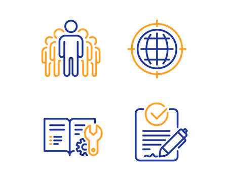 Seo internet, Group and Engineering documentation icons simple set. Rfp sign. Globe, Managers, Manual. Request for proposal. Technology set. Linear seo internet icon. Colorful design set. Vector