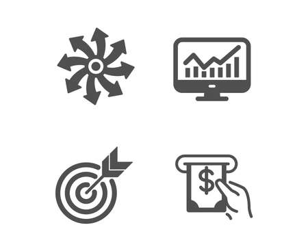 Set of Versatile, Statistics and Target icons. Atm service sign. Multifunction, Financial report, Targeting. Cash investment.  Classic design versatile icon. Flat design. Vector Illustration