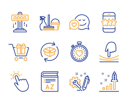 Engineering, Shopping cart and Dating icons simple set. Household service, Star and Attraction signs. Elastic, Return parcel and Vocabulary symbols. Line engineering icon. Colorful set. Vector