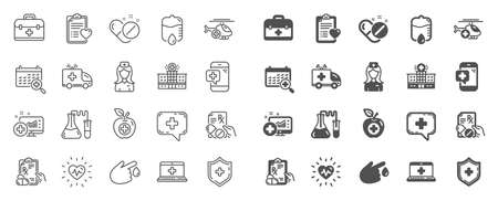 Medical rx line icons. Hospital assistance, Ambulance, Health food diet, Laboratory tubes icons. First aid kit, Medical doctor, Prescription Rx recipe. Drop counter, Ambulance emergency car. Vector Stockfoto - 124076103