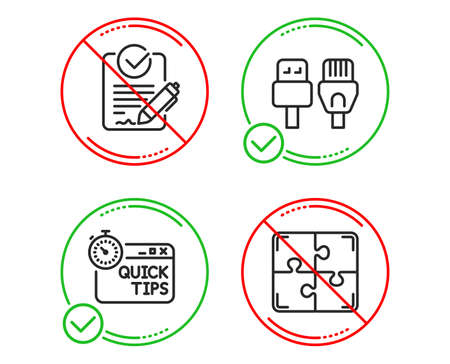 Do or Stop. Quick tips, Rfp and Computer cables icons simple set. Puzzle sign. Helpful tricks, Request for proposal, Rj45 internet. Engineering strategy. Science set. Line quick tips do icon. Vector