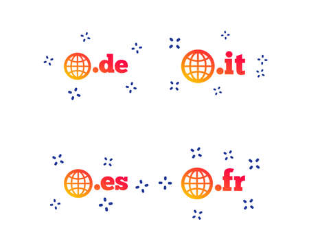 Top-level internet domain icons. De, It, Es and Fr symbols with globe. Unique national DNS names. Random dynamic shapes. Gradient domain icon. Vector