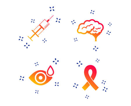 Medicine icons. Syringe, eye with drop, brain and ribbon signs. Breast cancer awareness symbol. Human smart mind. Random dynamic shapes. Gradient health icon. Vector Çizim