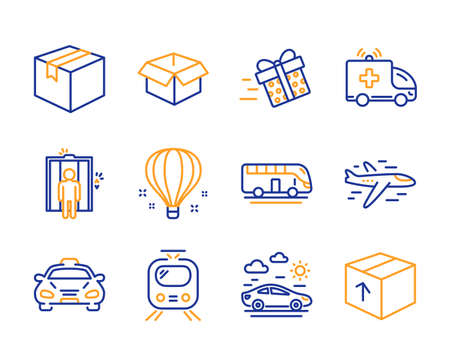 Opened box, Air balloon and Train icons simple set. Elevator, Parcel and Present delivery signs. Airplane, Ambulance car and Taxi symbols. Bus tour, Car travel and Package. Line opened box icon Иллюстрация