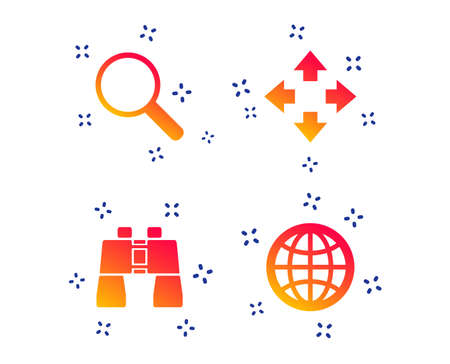 Magnifier glass and globe search icons. Fullscreen arrows and binocular search sign symbols. Random dynamic shapes. Gradient globe icon. Vector