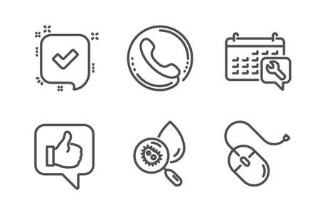 Like, Confirmed and Spanner icons simple set. Call center, Water analysis and Computer mouse signs. Thumbs up, Accepted message. Technology set. Line like icon. Editable stroke. Vector  イラスト・ベクター素材