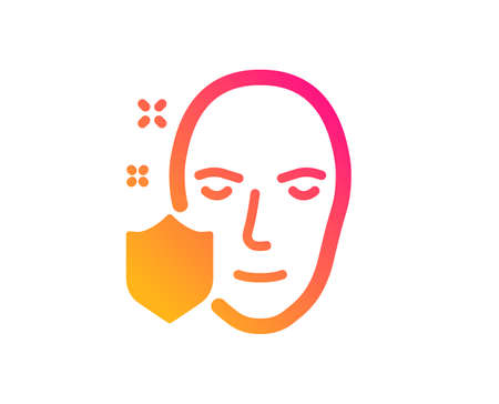 Face detection protected icon. Secure access sign. Facial identification symbol. Classic flat style. Gradient face protection icon. Vector Illustration