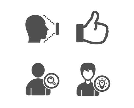 Set of Face id, Find user and Like icons. Person idea sign. Identification system, Search person, Thumbs up. Lamp energy.  Classic design face id icon. Flat design. Vector