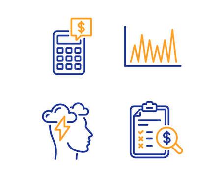 Mindfulness stress, rekenmachine en lijngrafiek pictogrammen eenvoudige set. Boekhoudkundig rapport teken. Wolkenstorm, geldbeheer, marktdiagram. Financiën controleren. Onderwijs ingesteld. Pictogram voor lineaire mindfulness-stress Vector Illustratie