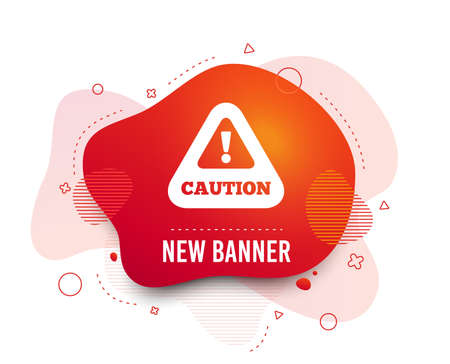 Fluid badge. Attention caution sign icon. Exclamation mark. Hazard warning symbol. Abstract shape. Gradient caution icon. Flyer liquid banner. Vector Иллюстрация