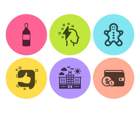 Wine bottle, Brainstorming and Like icons simple set. Hotel, Gingerbread man and Buying accessory signs. Cabernet sauvignon, Lightning bolt. Flat wine bottle icon. Circle button. Vector