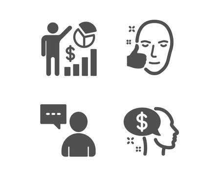 Set of Seo statistics, Healthy face and Users chat icons. Pay sign. Analytics chart, Healthy cosmetics, Communication concept. Beggar. Classic design seo statistics icon. Flat design. Vector