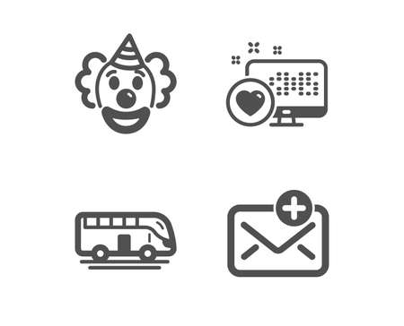 Set of Bus tour, Heart and Clown icons. New mail sign. Transport, Social media, Funny performance. Add e-mail. Classic design bus tour icon. Flat design. Vector