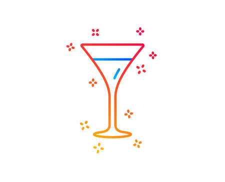 Martini glass line icon. Wine glass sign. Gradient design elements. Linear martini glass icon. Random shapes. Vector