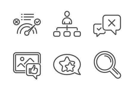 Reject, Management and Like photo icons simple set. Correct answer, Star and Research signs. Delete message, Agent. Technology set. Line reject icon. Editable stroke. Vector