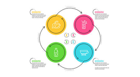 Water glass, Mint tea and Water bottle icons simple set. Infographic timeline. Dry cappuccino sign. Soda drink, Mentha beverage, Beverage mug. Food and drink set. Cycle infographic. Vector