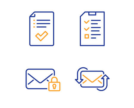 Secure mail, Approved checklist and Interview icons simple set. Refresh mail sign. Private e-mail, Accepted message, Checklist file. New e-mail. Education set. Linear secure mail icon. Vector Illustration