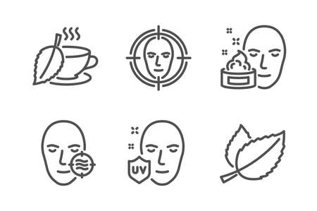 Problem skin, Uv protection and Face cream icons simple set. Face detect, Mint tea and Mint leaves signs. Facial care, Ultraviolet. Medical set. Line problem skin icon. Editable stroke. Vector
