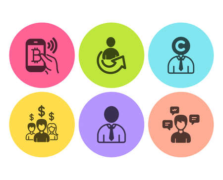 Human, Share and Copyrighter icons simple set. Salary employees, Bitcoin pay and Conversation messages signs. Person profile, Referral person. People set. Flat human icon. Circle button. Vector