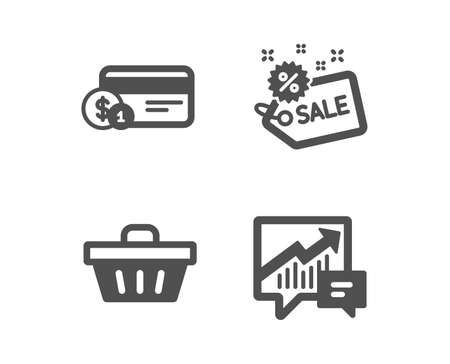 Set of Sale, Payment method and Shopping basket icons. Accounting sign. Shopping tag, Cash or non-cash payment, Sale offer. Supply and demand.  Classic design sale icon. Flat design. Vector