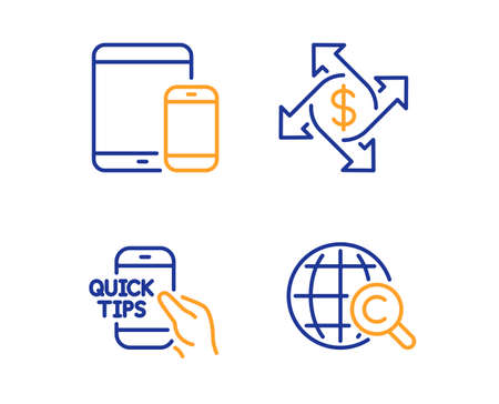 Education, Payment exchange and Mobile devices icons simple set. International Ð¡opyright sign. Quick tips, Money transfer, Smartphone with tablet. World copywriting. Education set. Vector