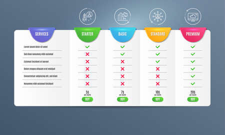 Decreasing graph, Networking and Startup icons simple set. Comparison table. Cloud storage sign. Column chart, Business communication, Developer. Computer. Science set. Pricing plan. Vector 일러스트