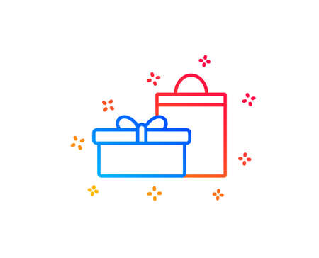 Gift box with bag line icon. Present or Sale sign. Birthday Shopping symbol. Package in Gift Wrap. Gradient design elements. Linear gifts icon. Random shapes. Vector