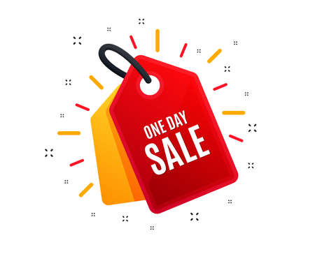 Sale tag. One day Sale. Special offer price sign. Advertising Discounts symbol. Shopping banner. Market offer. Vector