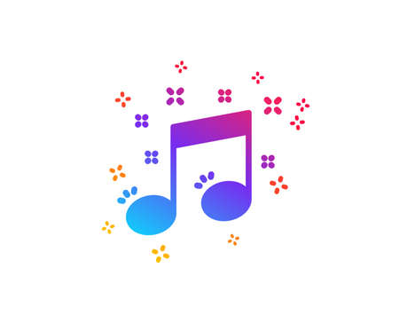 Musical note icon. Music sign. Dynamic shapes. Gradient design musical note icon. Classic style. Vector