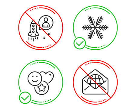 Do or Stop. Snowflake, Startup and Smile icons simple set. Web mail sign. Air conditioning, Developer, Social media likes. World communication. Business set. Line snowflake do icon. Vector