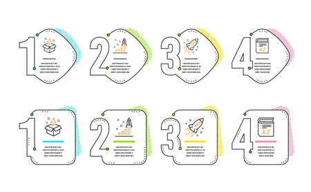 Startup rocket, Development plan and Creative idea icons simple set. Vocabulary sign. Business innovation, Strategy, Lightning. Book. Education set. Infographic timeline. Line startup rocket icon