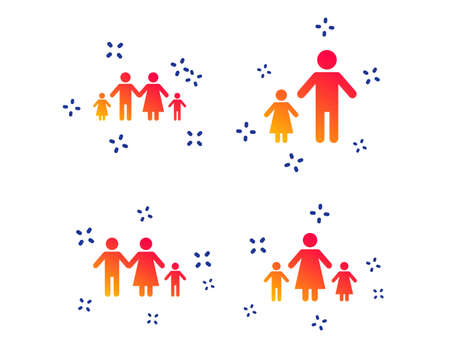 Family with two children icon. Parents and kids symbols. One-parent family signs. Mother and father divorce. Random dynamic shapes. Gradient people icon. Vector Illustration