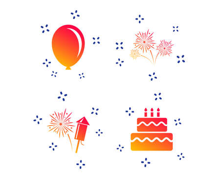 Birthday party icons. Cake and gift box signs. Air balloon and fireworks symbol. Random dynamic shapes. Gradient birthday cake icon. Vector
