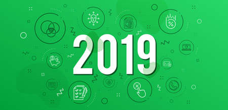 Infographic concept. Reject click, Web love and Credit card icons simple set. Secure mail, Survey checklist and Loan percent signs. Call center, Heart and Euler diagram symbols. 2019 year. Vector