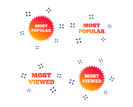 Most popular star icon. Most viewed symbols. Clients or customers choice signs. Random dynamic shapes. Gradient popular icon. Vector