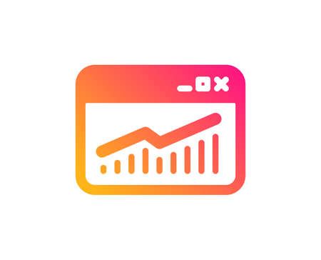 Website Traffic icon. Report chart or Sales growth sign. Analysis and Statistics data symbol. Classic flat style. Gradient website Statistics icon. Vector