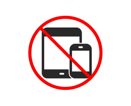 No or Stop. Mobile Devices icon. Smartphone and Tablet PC signs. Touchscreen gadget symbols. Prohibited ban stop symbol. No mobile devices icon. Vector
