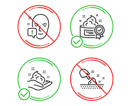 Do or Stop. Face attention, Cream and Skin care icons simple set. Skin moisture sign. Exclamation mark, Best lotion, Hand cream. Medical set. Line face attention do icon. Prohibited ban stop. Vector