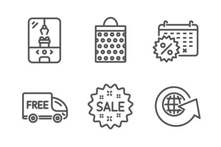 Free delivery, Shopping bag and Calendar discounts icons simple set. Crane claw machine, Sale and World globe signs. Shopping truck, Paper package. Holidays set. Line free delivery icon. Vector