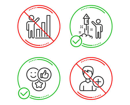 Do or Stop. Like, Fireworks and Graph chart icons simple set. Add person sign. Social media likes, Party pyrotechnic, Growth report. Edit user data. People set. Line like do icon. Prohibited ban stop