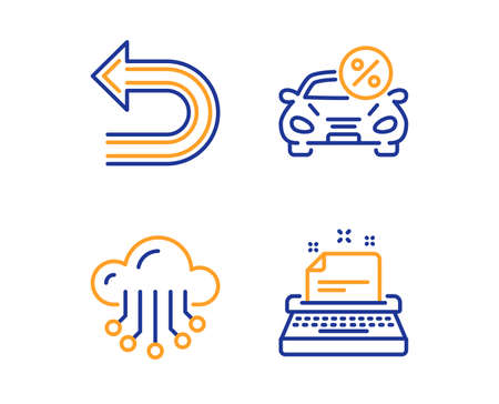 Car leasing, Undo and Cloud storage icons simple set. Typewriter sign. Transport discount, Left turn, Data service. Instruction. Linear car leasing icon. Colorful design set. Vector Illustration